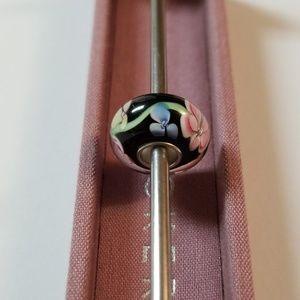 Kay Jewelers Jewelry - 3/$20💜Black Pink Flower Murano Charm for Pandora